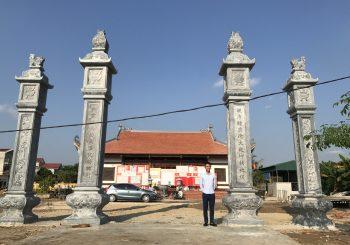 Lắp Đặt Cột Tứ Trụ Đá Đẹp Tại Đình Làng Xã Tiền Phong Huyện Vĩnh Bảo