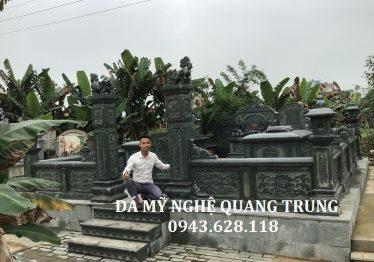 Mẫu Lăng Mộ Đá Xanh Rêu Cao Cấp Tại Nghĩa Trang Diễn Châu, Nghệ An.