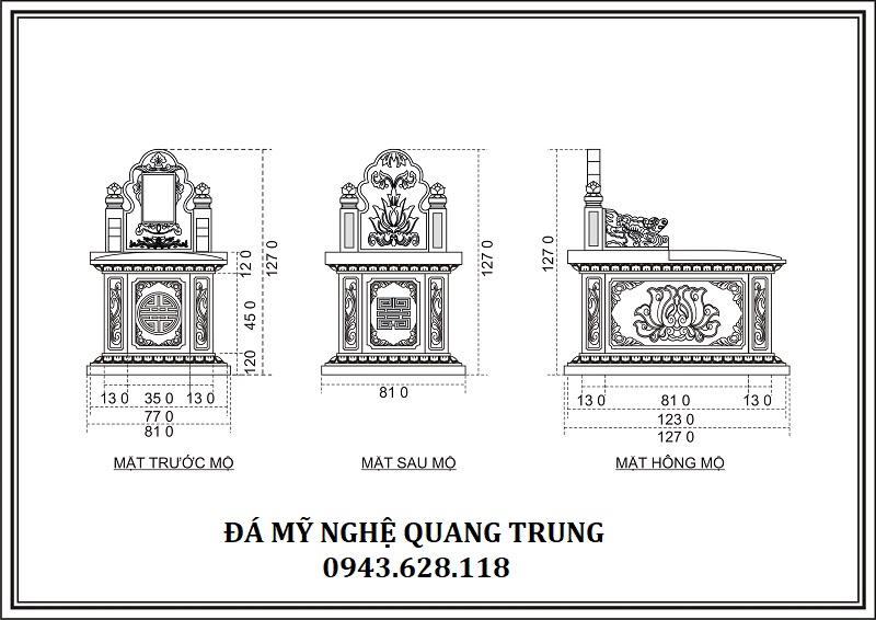 THIẾT KẾ CHI TIẾT MỘ BÀNH 81X127 Lăng mộ đá, Mộ đá Ninh Bình
