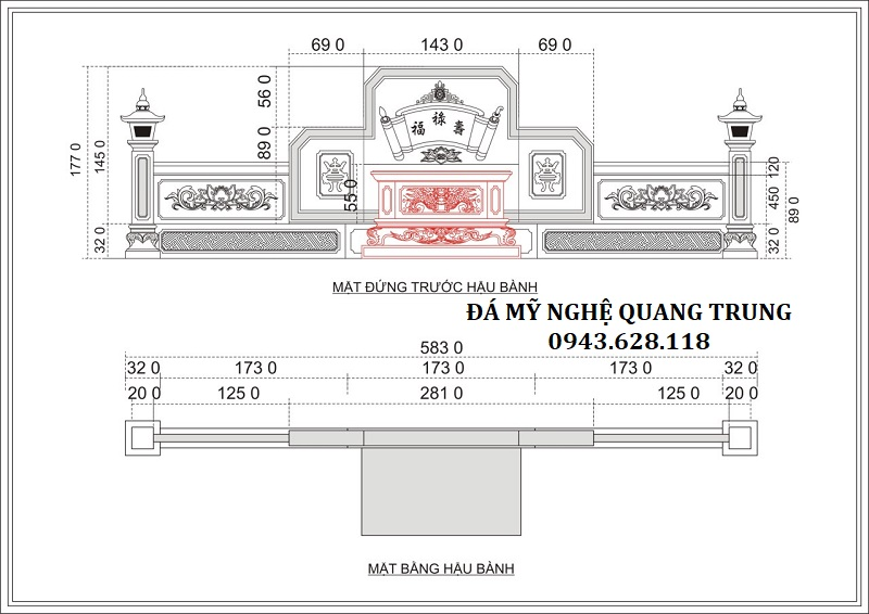 Thiết kế Mặt Bằng Hậu Bành của Khu Lăng mộ đá Xanh Rêu