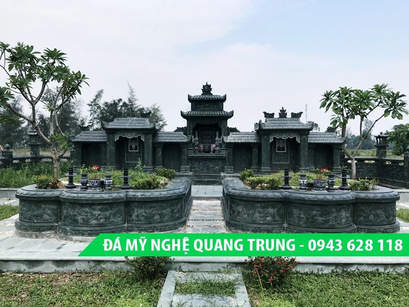 Mộ đá quây hai người đẹp - Mộ đá đôi xanh rêu cao cấp của Đá mỹ nghệ Quang Trung