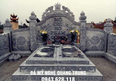 """Mẫu lăng mộ đá đôi đẹp nhà Bác Tài """"Mộ chi Họ Phạm Công"""" tại Bắc Ninh"""