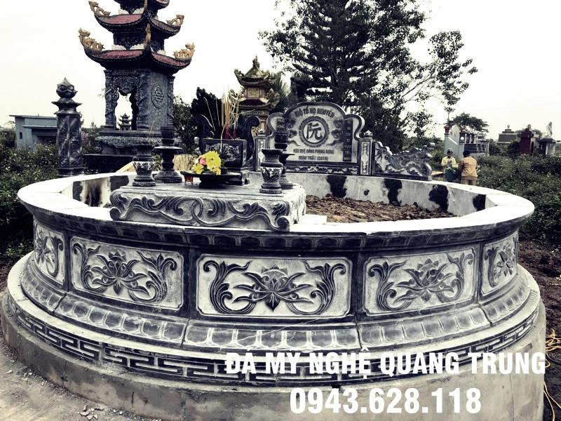 Khu lăng mộ đá tròn cao cấp đẹp từ đá xanh nguyên khối