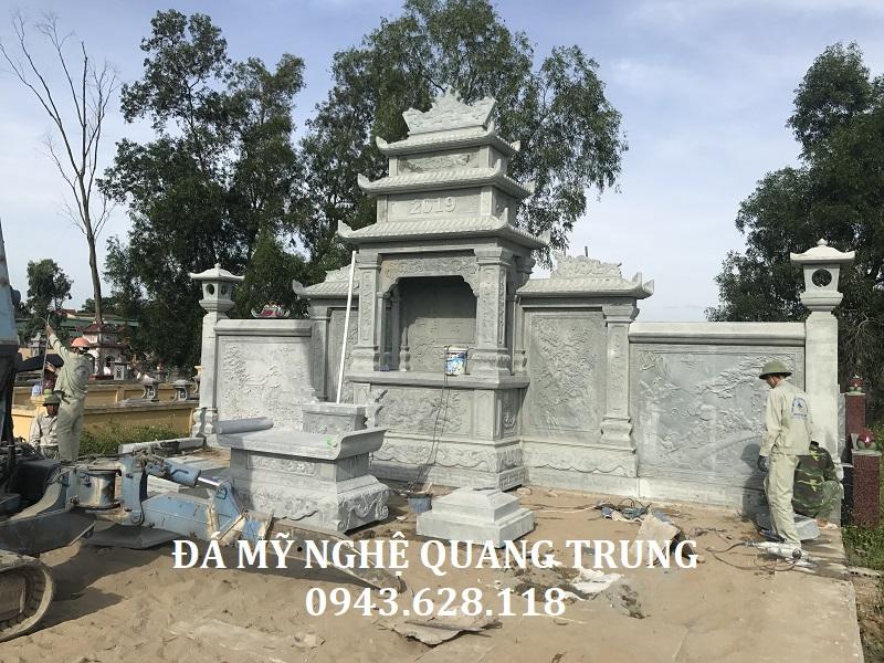 Lắp đặt Long Đình Đá của khu lăng mộ đá xanh rêu cao cấp