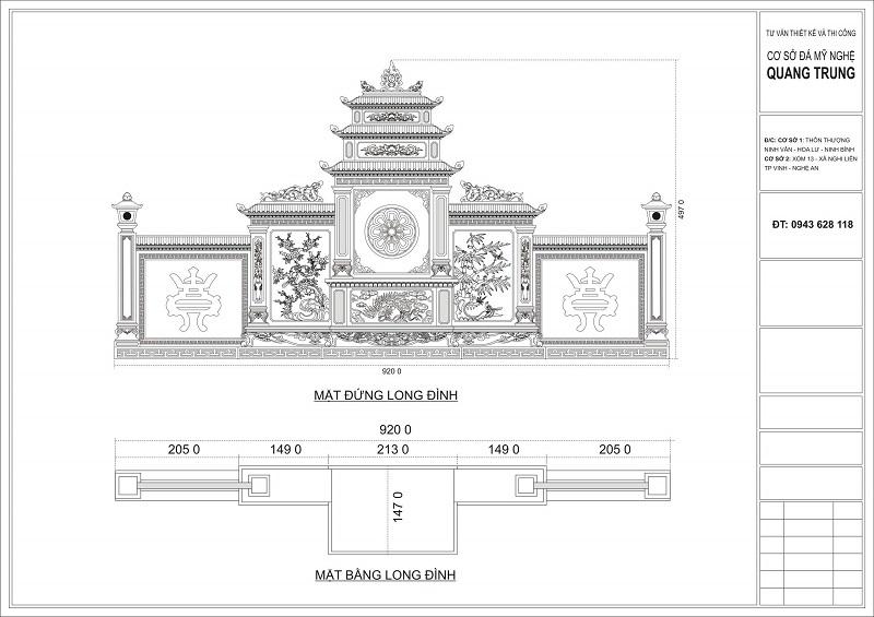 Chi tiết Mặt Đứng và Bằng của Long Đình Đá xanh rêu cao cấp Quang Trung