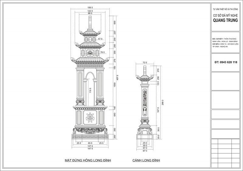 Chi tiết Mặt đứng Long Đình đá và Cánh long đình đá của Khu Lăng mộ đá cao cấp