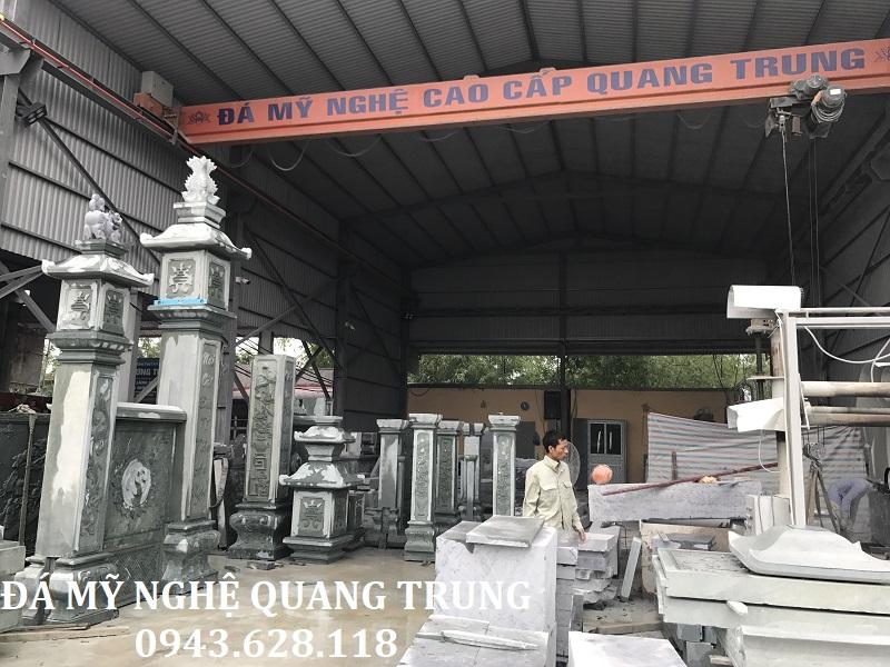 Trên đây Quý khách có thể thấy được hình ảnh của các chi tiết khu lăng mộ được gia công, chế tác và lắp ghép thử tại xưởng Đá mỹ nghệ Quang Trung.