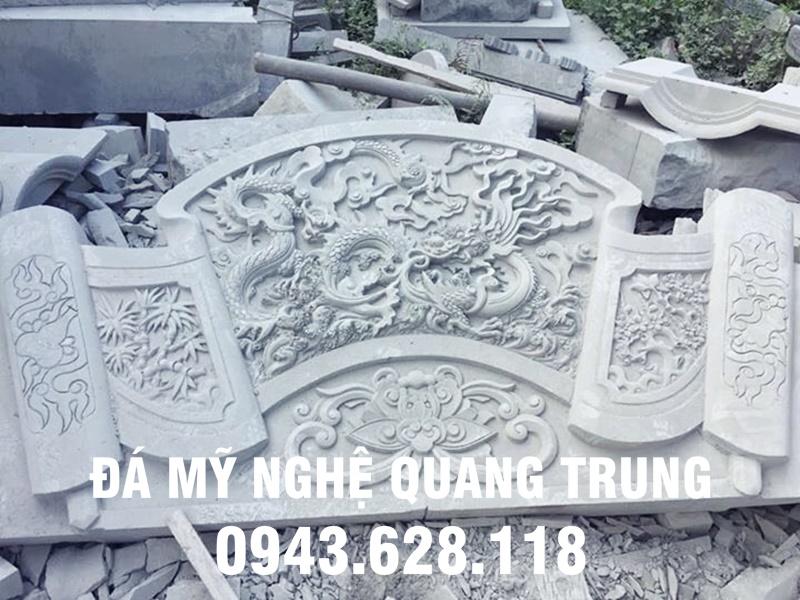 Cuốn thư đá đẹp Nhà thờ họ do các nghệ nhân Đá mỹ nghệ Quang Trung thực hiện