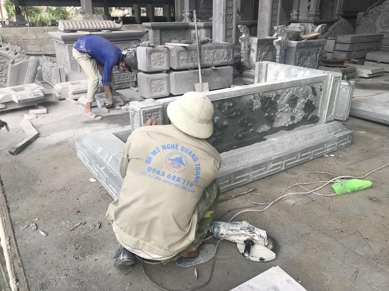 LẮP ĐẶT MỘ ĐÁ XANH RÊU TAI XƯỞNG Lăng mộ đá, Mộ đá Ninh Bình