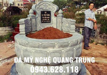 Mẫu Mộ đá tròn nguyên khối Quang Trung đẹp