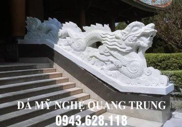 Đặt Rồng đá trắng nguyên khối cao cấp cho Đình Chùa tại Nam Định