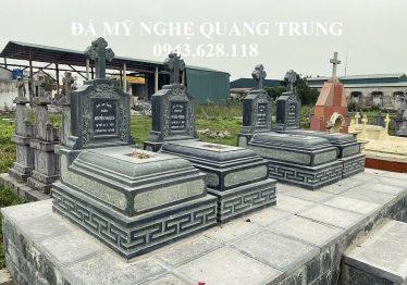 Mộ đá Công giáo đá xanh rêu cao cấp 81x127cm – Mộ đá ĐẸP Quang Trung 2020