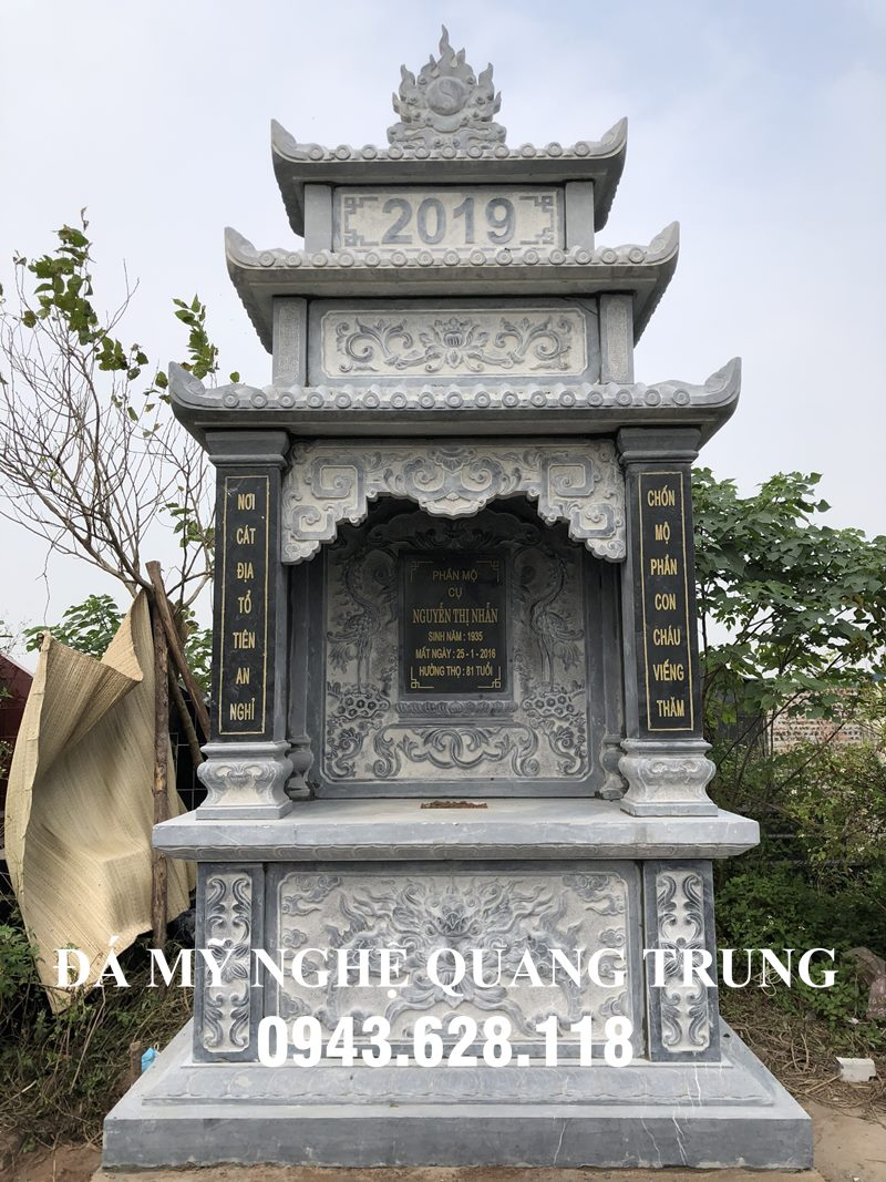 Mộ Đá 3 mái đẹp, 3 đao mây liền khối của Đá mỹ nghệ Quang Trung, Ninh Vân Hoa Lư Ninh Bình