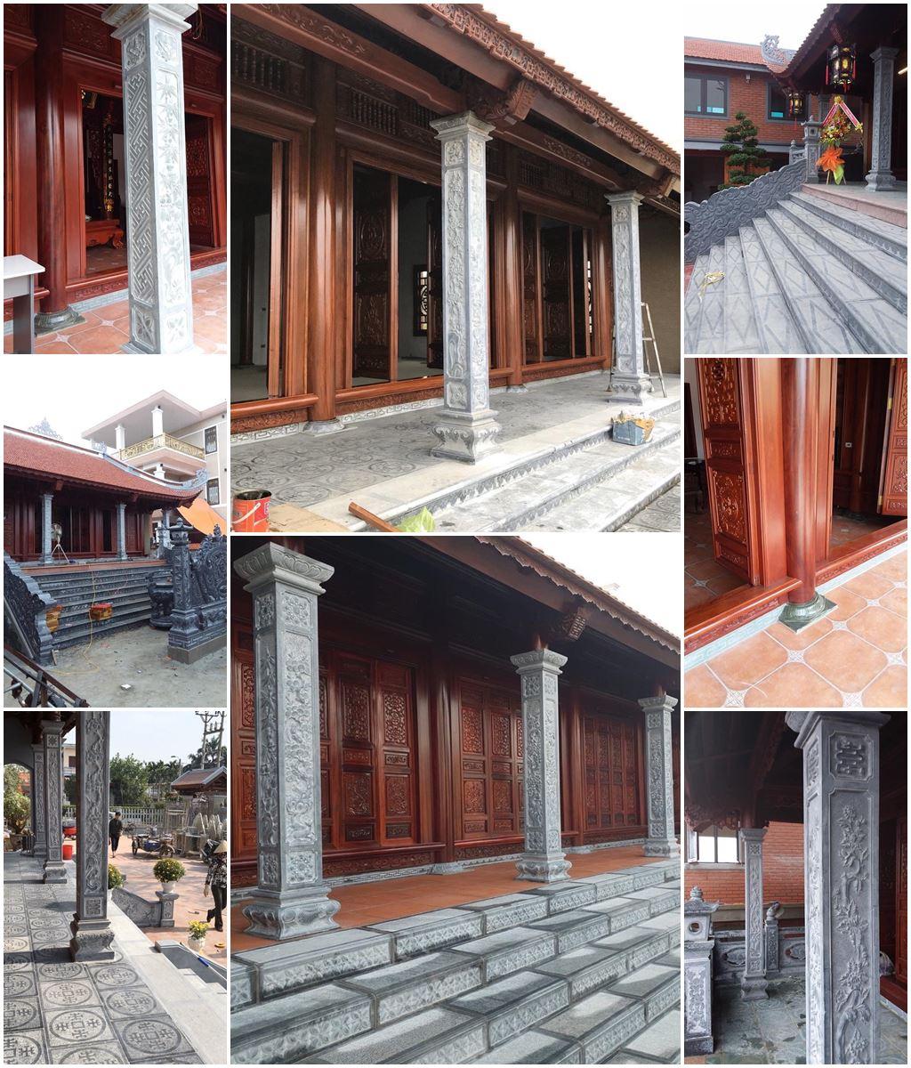 Đặt Cột đá hiên, Cột đồng trụ đá vách cho Nhà thờ họ/Từ đường, Bảo điện của Nhà gỗ cổ truyền trên toàn quốc.