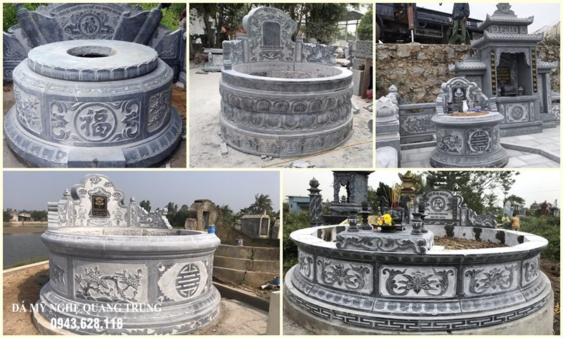 Tổng hợp các Mẫu Mộ đá tròn điển hình của Đá mỹ nghệ Quang Trung