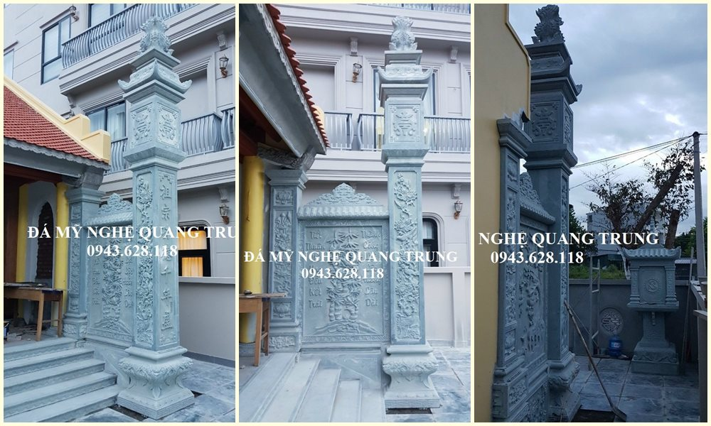 Cột đá đồng trụ - Mẫu Cột đá đẹp nguyên khối đá tự nhiên cao cấp cho Nhà thờ gỗ cổ truyền/Từ đường, Đình, Chùa, Bảo điện,...