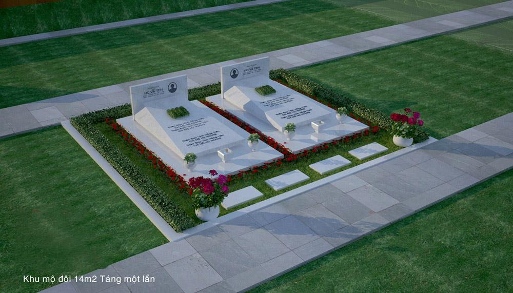 Thiết kế Khu Lăng mộ đá đôi Hoa Cương đẹp - An táng 1 lần