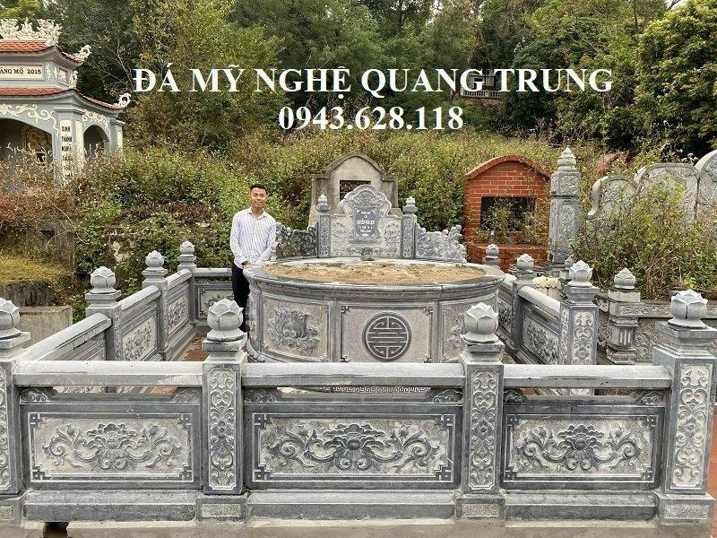 Xây dựng lăng mộ đá tròn - Mẫu Lăng mộ đá đẹp Quang Trung tại Làng nghề Đá mỹ nghệ Ninh Vân, Hoa Lư, Ninh Bình