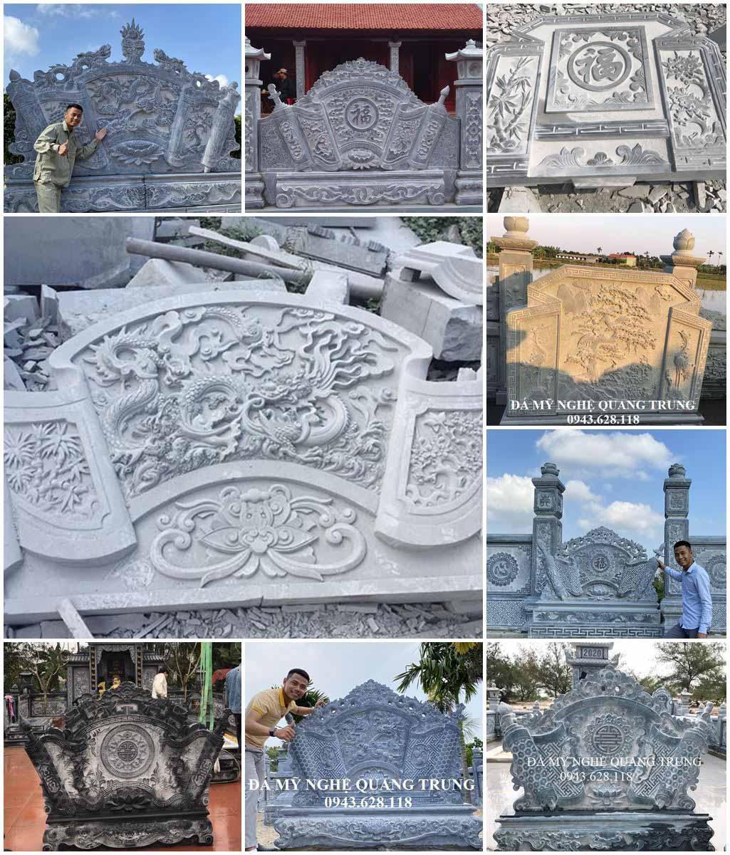 Cuốn thư đá đẹp cho khu lăng mộ đá xanh của gia tiên, dòng họ phổ biến hiện nay.