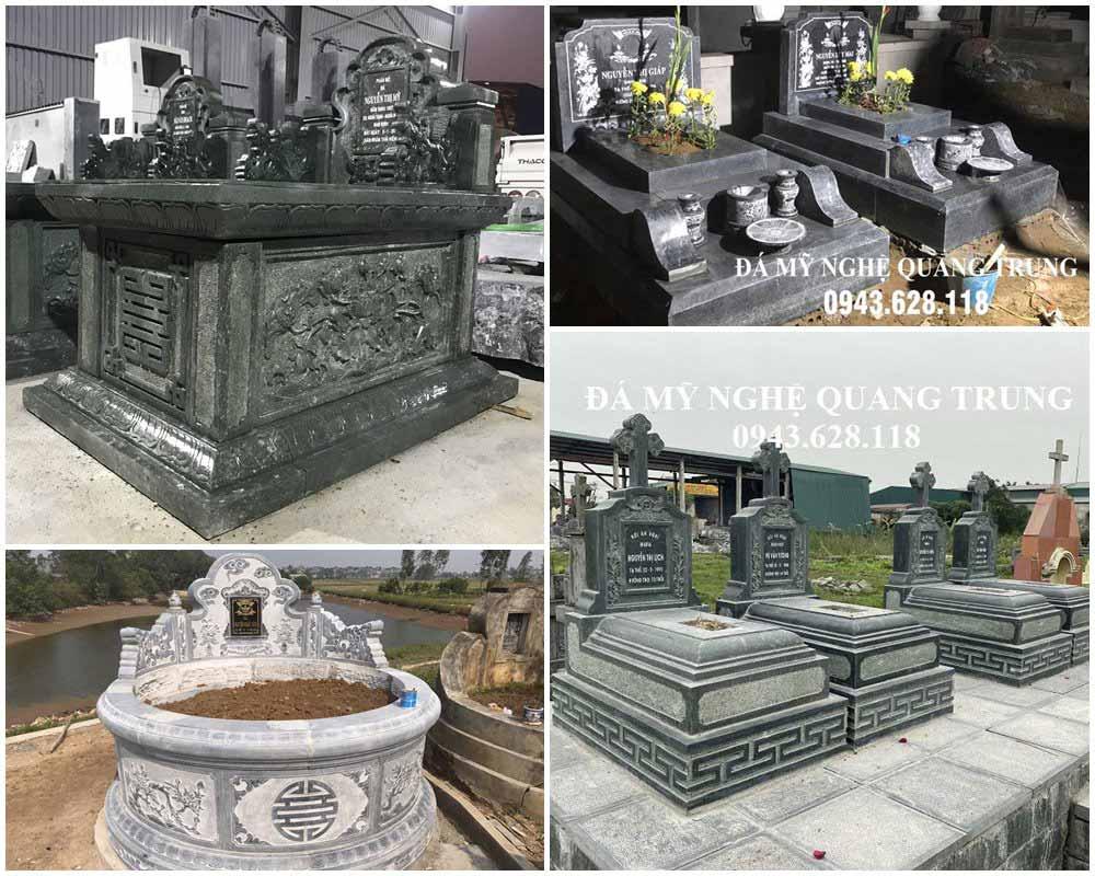 Một số mẫu Mộ đá đẹp phổ biến hiện nay tại các khu lăng mộ như: Mộ tam sơn đơn; mộ đôi; mộ theo mẫu hiện đại; mộ đá tròn nguyên khối; mộ công giáo,... Tùy thuộc vào yêu cầu cụ thể, phong tục văn hóa vùng miền mà thiết kế Mộ đá cho phù hợp.